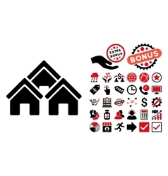 Town Buildings Flat Icon with Bonus vector image