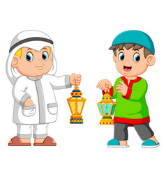 two moslem man holding lantern vector image