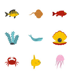 underwater fauna icons set flat style vector image