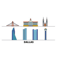 United states dallas flat landmarks vector