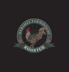 vintage logo farm rooster with hand drawn style vector image