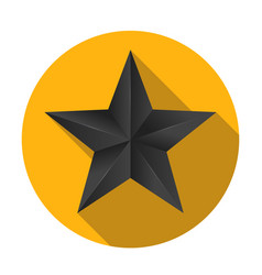 Volumetric five-pointed star with flat shadow vector