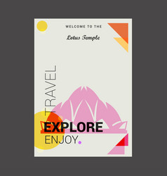 welcome to the lotus temple delhi india explore vector image