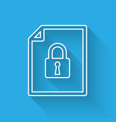 White document and lock line icon isolated with vector