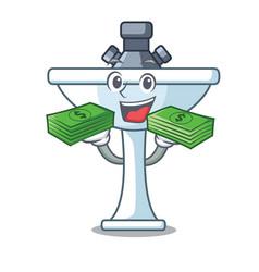 With money on bath room cartoon sink shape vector