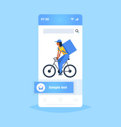 woman courier with large backpack riding a bike vector image