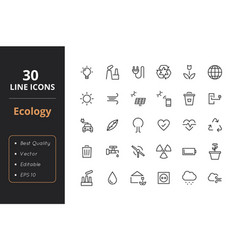 30 ecology line icons vector image