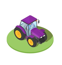 3d isometric of tractor with driver inside vector image
