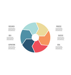 Business infographics pie chart with 6 parts vector