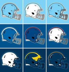 Colored football helmets in blue tones vector image vector image