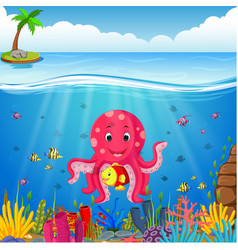 cute octopus under the sea vector image vector image