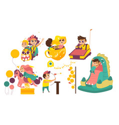 happy kids enjoying amusement park attaractions vector image