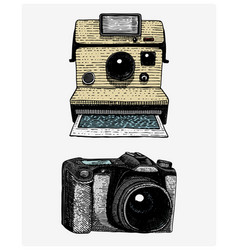photo camera set vintage engraved hand drawn in vector image