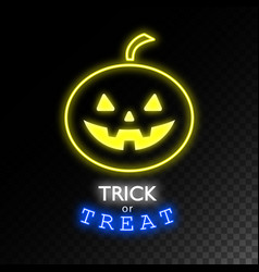pumpkin neon signtrick or treat halloween bright vector image