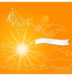 Airplane with blank banner flying in the sunny vector image vector image
