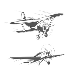 Biplane and monoplane aircrafts for vintage vector image vector image