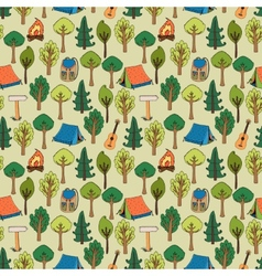 Camping and hiking background seamless pattern vector image