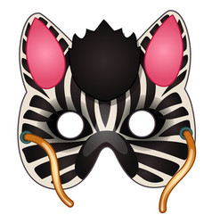 carnival zebra mask on face drawn in cartoon style vector image vector image