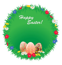 easter round frame of grass with flowers and vector image