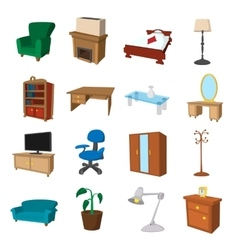 Furniture cartoon icons set vector image vector image