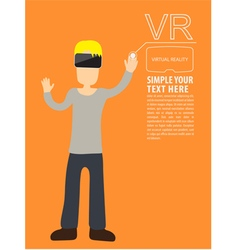 Man wear VR playing vector image