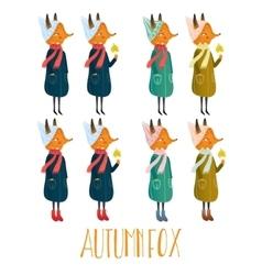 set of very cute autumn fox cute vector image