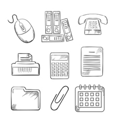 Sketched office and business icons vector image vector image