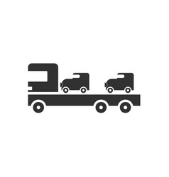 black icon on white background car carrier truck vector image vector image