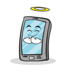 innocent face smartphone cartoon character vector image vector image
