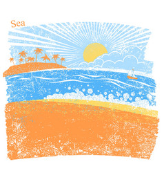 nature sea background with palm island and blue vector image vector image
