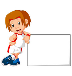 runner boy and sign board vector image vector image