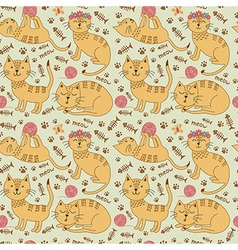 Seamless pattern with cute ginger cats vector image vector image