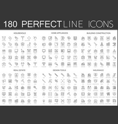 180 modern thin line icons set of household home vector