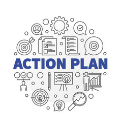 Action plan round in thin line vector
