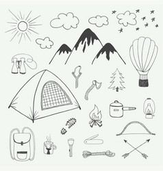 adventures hand drawn doodle set in vintage style vector image
