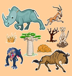 Africa Animals Trees Collection Set 02 vector