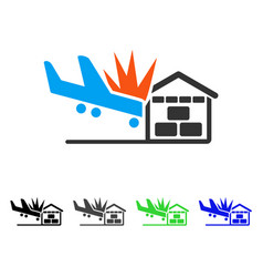 Airplane hangar crash flat icon vector
