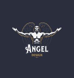 Angel man emblem vector