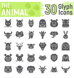 Animal glyph icon set beast symbols collection vector