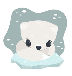 Arctic polar bafox vector