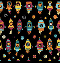 astronaut space animals on black seamless vector image