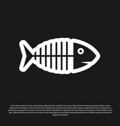 black fish skeleton icon isolated on black vector image