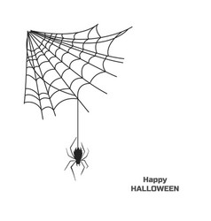 black silhouette spider on web halloween party vector image