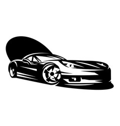 black sportcar element for design monochrome vector image