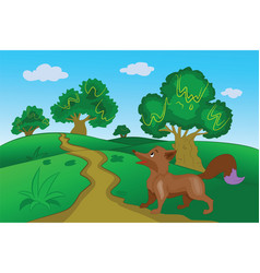 Brown fox in the forest vector