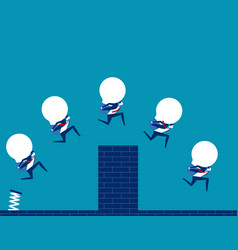 Business team holding bulb and jump over wall vector