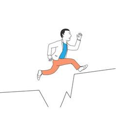 businessman jump cross cliff vector image