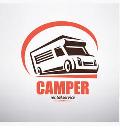 Camper van logo template stylized symbol vector