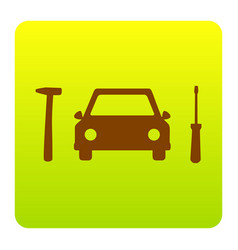 car tire repair service sign brown icon vector image