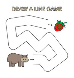 cartoon hippo draw a line game for kids vector image
